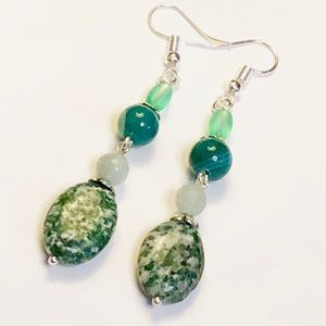 Green Agate Amazonite & Tree Jasper Earrings